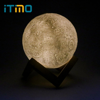 ITimo Moonlight Table Desk Lamp Magical Rechargeable 3D Moon Night Light USB Indoor Lighting Birthday Valentines