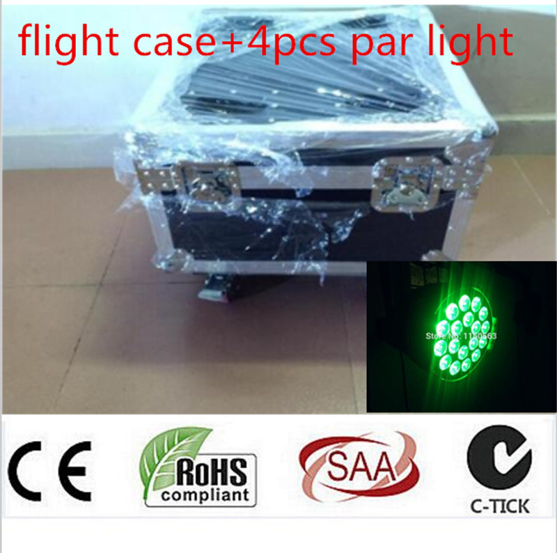 4pcs 18x12W LED Par Lights with 1 flight case Led Par Light RGBW 4in1 LED Par LED Luxury DMX 6/8 Channels Led Flat Par Lights