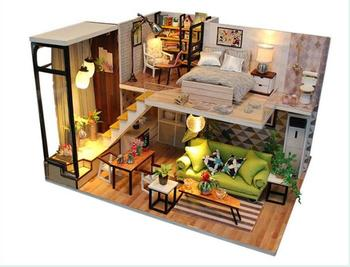 DIY Doll House Miniature With Furnitures 3D Wooden House Model Handmade Toys Children Gift Romantic Nordic M030