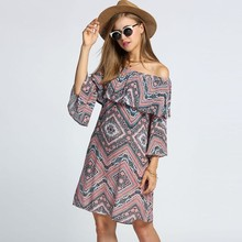 Bohemian Style Women Off Shoulder Dress Flare Sleeve Ruffles Boho Floral Print Casual Dress