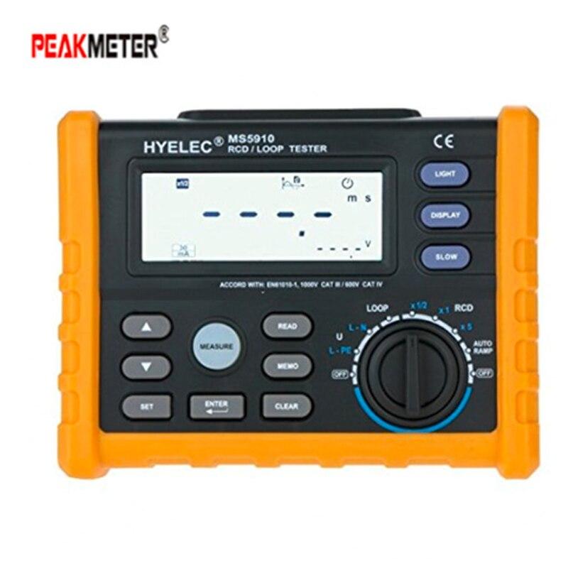 PEAKMETER MS5910 Trip-out Atual Resistência Do Circuito RCD Tester Multímetro Digital/Detector em Tempo Com Interface USB