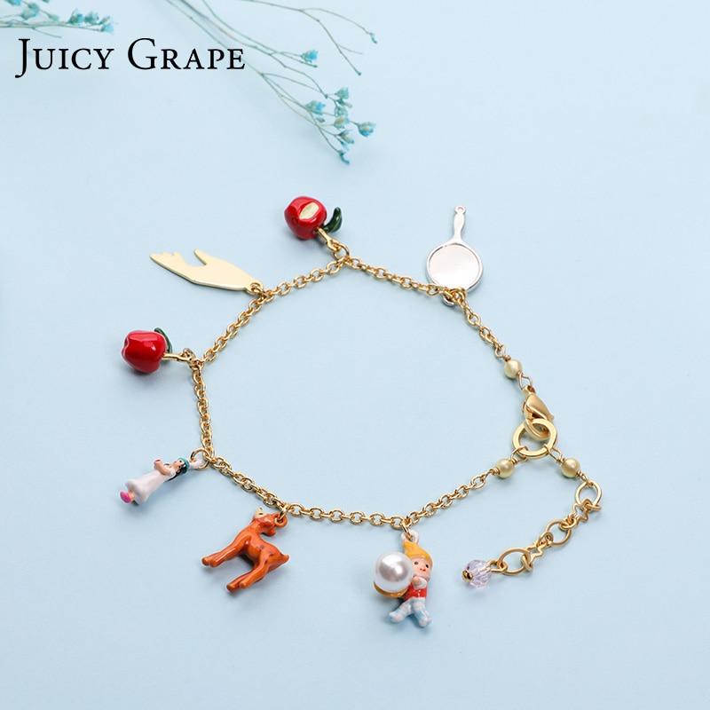 Juicy Grape 2019 Enamel Glaze Handmade Copper Plated Snow White Bracelet Apple And Fawn Bracelet For Christmas Fashion Jewelry