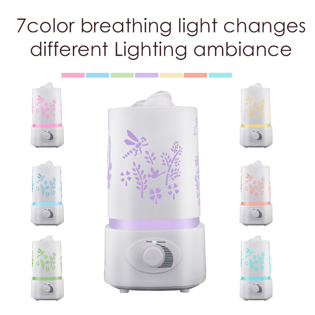 Essential Oil Diffuser Humidifier Air purifier Aroma Diffuser 7 Color LED Carve Mist Maker for Home Office Baby Room Bedroom Spa 2
