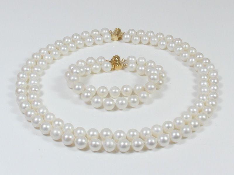 set AA 9-10mm white pink yellow Natural Fresh water pearl necklaceset AA 9-10mm white pink yellow Natural Fresh water pearl necklace