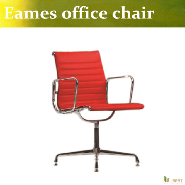 U-BEST top grain real leathe emes Office lift chair  office reception chairs aluminum leg Fixed arm meeting room continental bar chairs rotating chair lift back bar stool reception tall silver beauty makeup chair