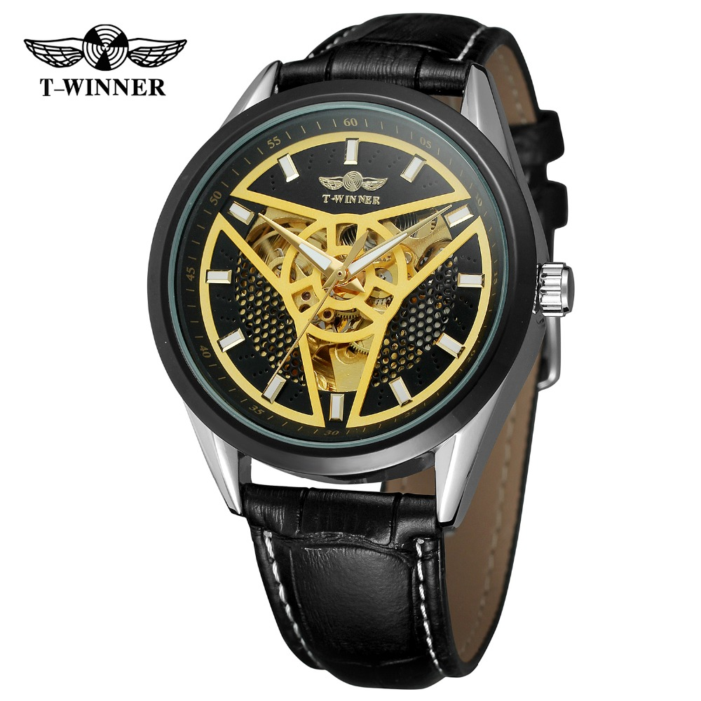 T-Winner Men's Watch Luxury Skeleton Automatic Self-wind Genuine Leather Strap Famous Brand Gift Wristwatch WRG8147M3 winner brand mens skeleton automatic mechanical watch leather strap t winner roman number wristwatch gift box relogio releges
