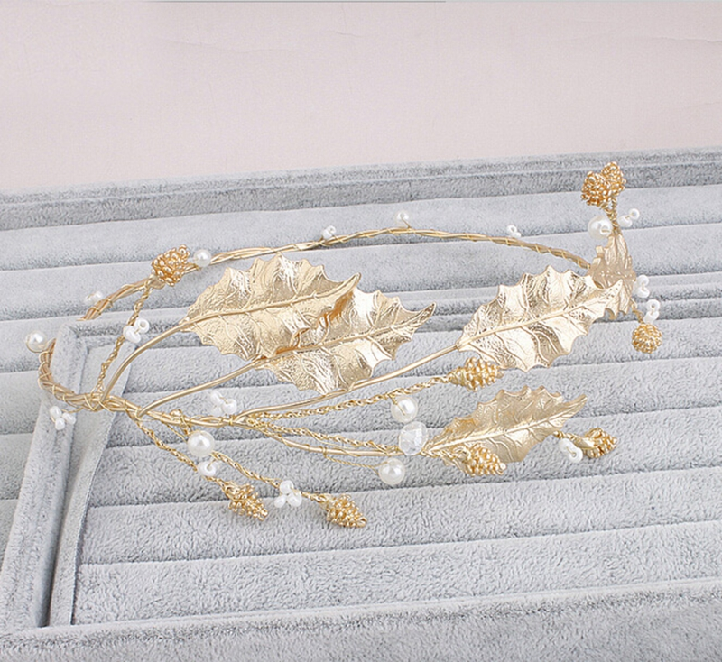 Gorgeous Gold Plated leaf headband pearl jewelry crystal tiara women crown Pearl hair ornaments bridal wedding accessories недорого