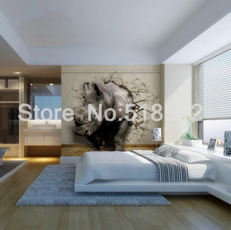 Dostosowane fototapety 3d realistyczne mural nosorożec zwierząt lew słonie włókniny sypialnia mural home decor tapety ścienne 3d 10