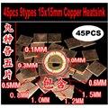45 шт./лот 9 моделей 15 мм x 15 мм медный радиатор термопрокладка для ноутбука GPU cpu VGA - фото