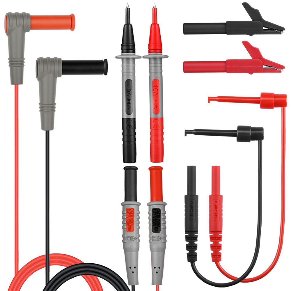 Electrical Multimeter Probe Teste Leads for Multimeter Wire Pen Cable with Alligator Pliers Needle Tip Feeler Test Lead Kits 1pcs yt191 high voltage 4 mm banana plug test lead cable wire 100 cm for multimeter the probes gun type banana plugs