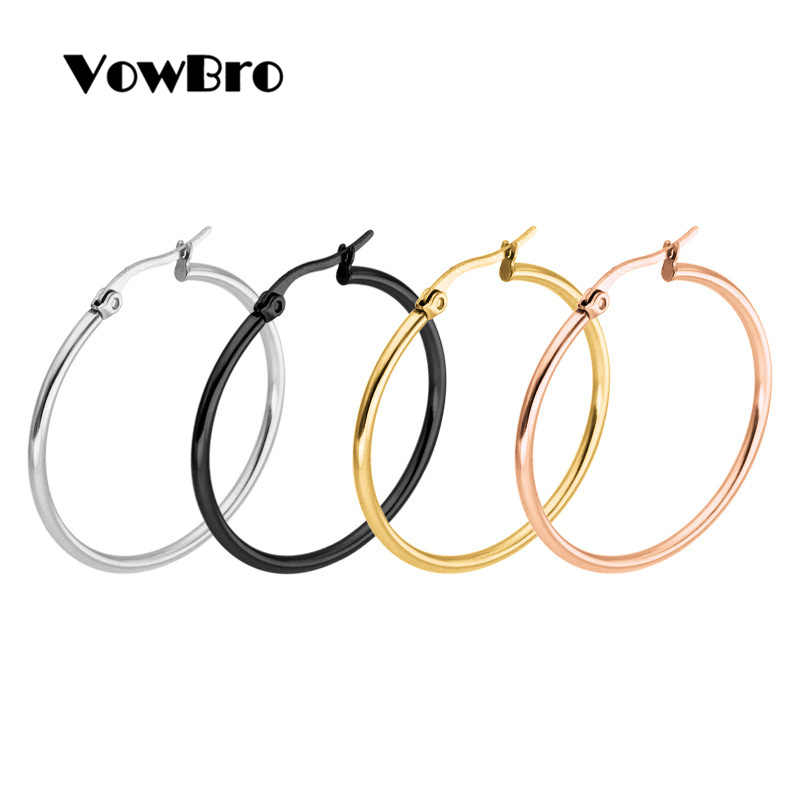 VowBro pendientes Mujer Hoop Earrings Stainless Steel Gold/Silver Color Circle Basketball Earring For Women /Girl Jewelry