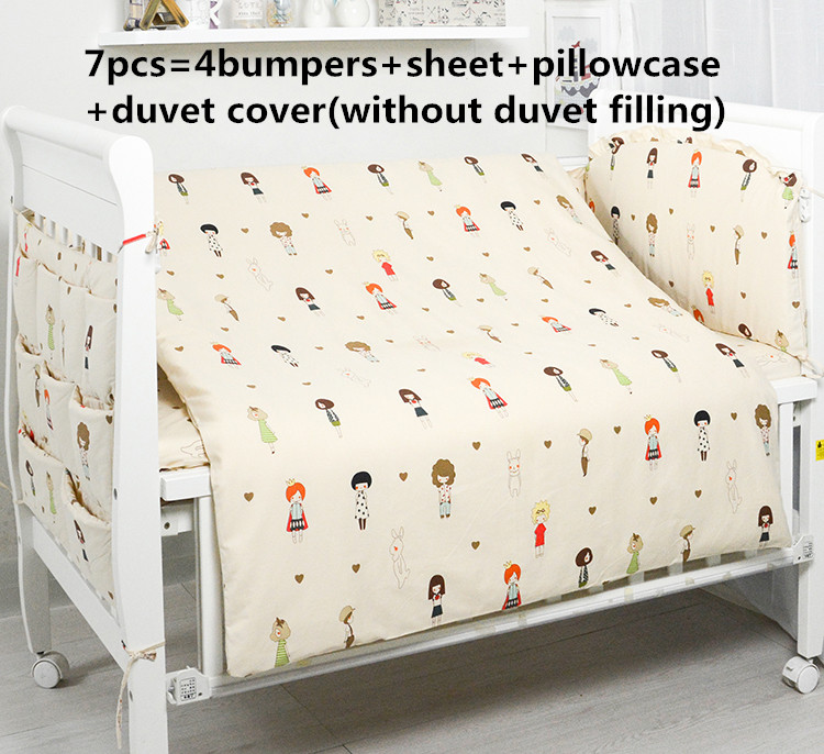 2017! 6/7PCS Baby bedding kit 100% cotton bed around crib set cot bedding newborn Duvet Cover,120*60/120*70cm promotion 6 7pcs crib sheets bedding set for girls 100% cotton crib bedding duvet cover 120 60 120 70cm