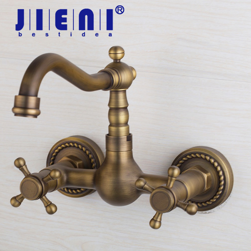 JIENI Swivel Spout Antique Brass Bathroom Basin Sink Mix Tap Dual Handles Wall Mounted Kitchen Basin Sink Mixer Faucet golden brass kitchen faucet dual handles vessel sink mixer tap swivel spout w pure water tap