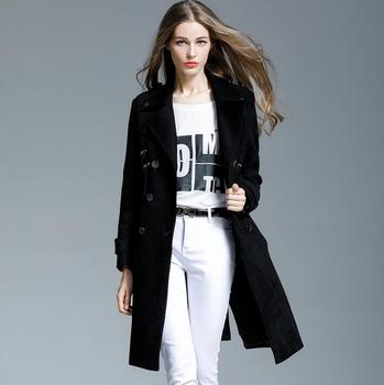 Chamois leather medium-long trench coat female 2020 fashion elegant olive deerskin cashmere trench coats womens plus size 4XL