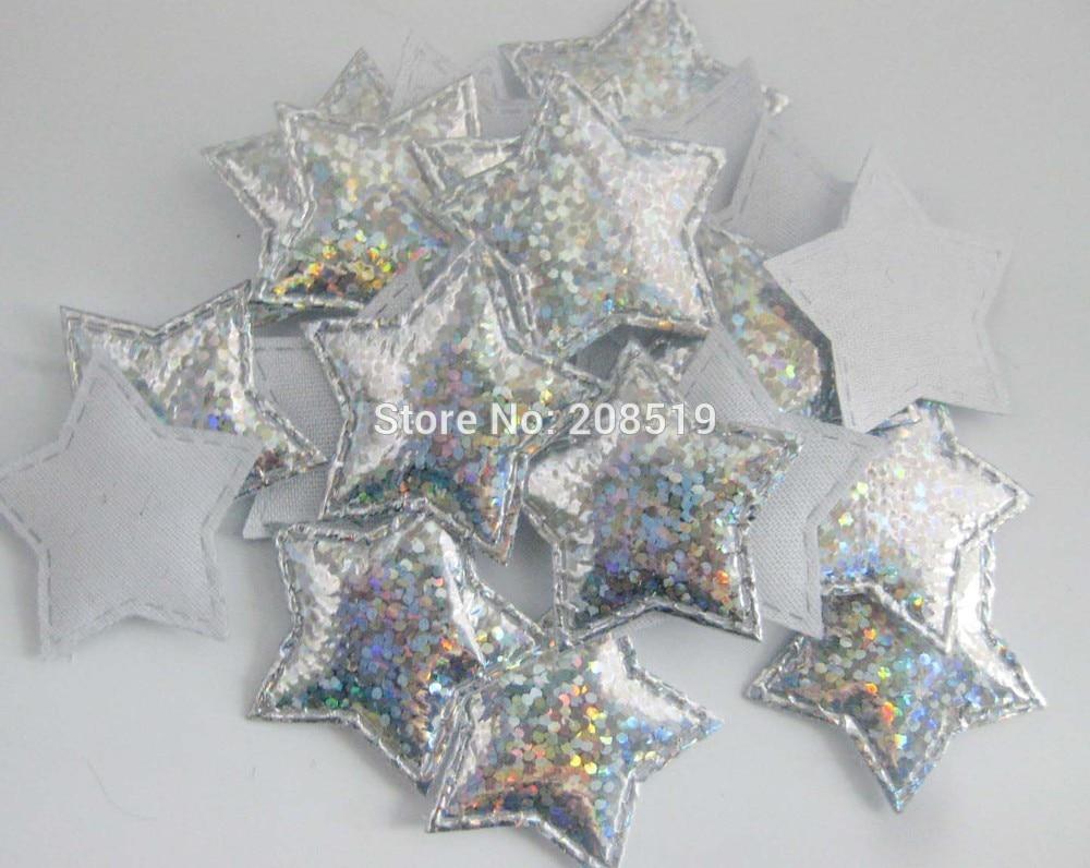 PA0050 микс 100 шт 3 см диско мерцание на золоте и серебряном войлоке звезды аппликации Декоративные ремесло и скрапбукинг материал - Цвет: only silver color