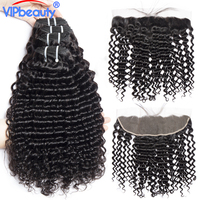Malaysian Deep Curly Pre Plucked 13x4 Lace Frontal Closure With Bundles Vip Beauty Non Remy 3