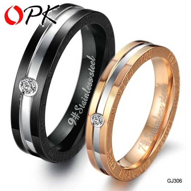OPK Fashion Cubic Zirconia Lovers Wedding Engagement Rings Couple's Stainless Steel Jewelry Christmas Gift For Women Men 306
