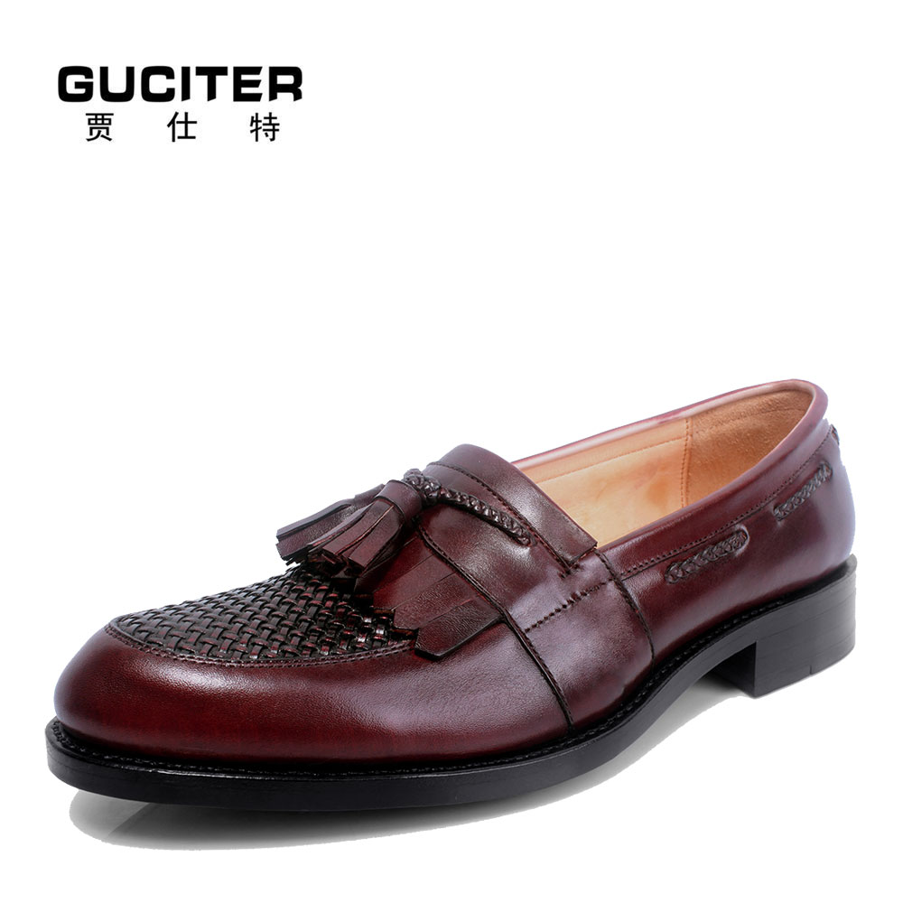 High-end Custom made mens shoes Goodyear welted Made to Order tassel woven leather shoes brand casual profession blake craft high quality silk 35mm 200m blank washing mark high end laundering tags for garment provide custom order