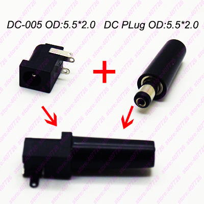 10PCS High Quality DIY DC Power Jack Female Connector + hard shell Male Socket Connector plug 5.5*pin2.1mm Round needle DC-005 20pcs 5 5mm x 2 1mm round dc socket panel mounting power adapter dc power jack socket connector plug receptacle plastic
