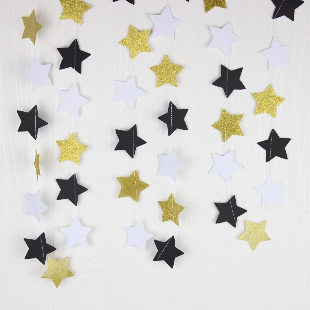 5pcs Gold Black White Star Paper Garland. Party, Wedding , Home ...