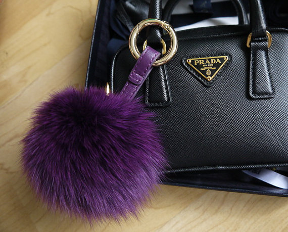 4347667a300 ... various design cdf36 5348b Purple Fox Fur Fluffy Keychains Puffs Ball  Purse Charm Pompoms Women Bag ...
