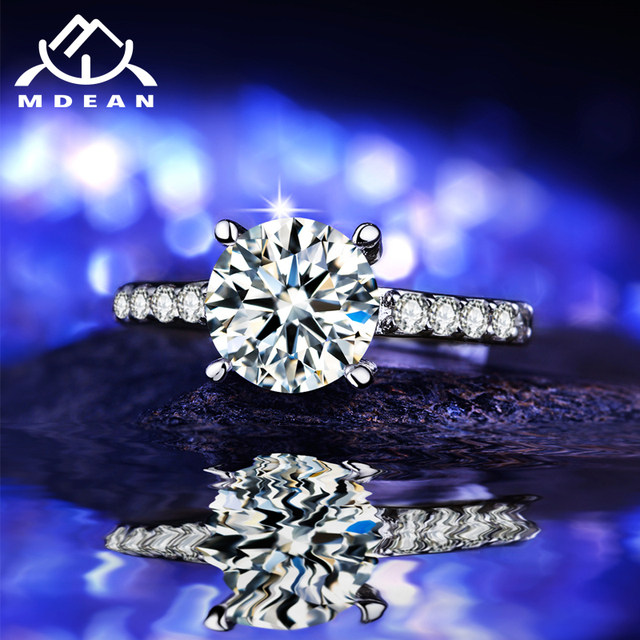 MDEAN Round White Gold Color Wedding Rings For Women AAA Zircon Micro Paved Women Engagement Rings  Size 6 7 8  MSR291