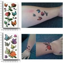 12 Styles Temporary Fake Tattoo Waterproof Water Transfer Rose Flower butterfly Dandelion hamburger Stickers Beauty Body Art