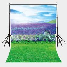 5x7ft Natural Scenery Backdrop Ultra Violet Color Flowers Background Sunny Day Photography
