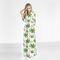 Hot Sale 3D Christmas Flowers Printed Women Dress 2017 Bodycon Long Dress Soft Polyester/Spandex Sexy Party Dress White Dresses
