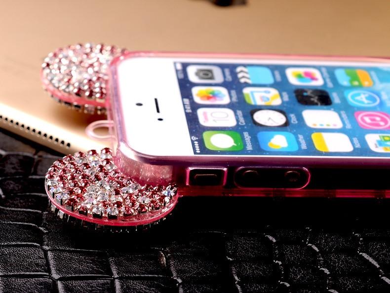 YESPURE Fancy Bling Berlian Mouse Ears Kasus Telepon Mewah untuk - Aksesori dan suku cadang ponsel - Foto 6