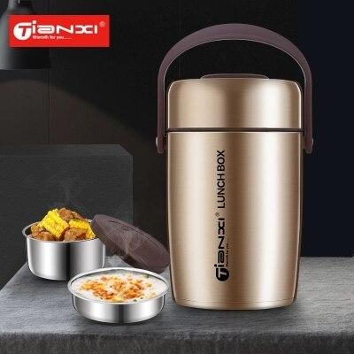 Haute qualité Double paroi en acier inoxydable alimentaire pot Thermos isolé 2000 ML boîte à Lunch avec sac cuillère baguettes récipient alimentaire