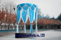 2M Diameter 3M Height Lake blue Princess Pavilion curtain Wedding props wedding supplies(without the stand)