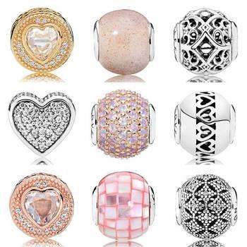 Oro rosa Amore e Compassione Con Cubic Zirconia Beads Fit Pandora Essenza COLLEZIONE Del Braccialetto Dell'argento Sterlina 925 di Fascino Dei Monili