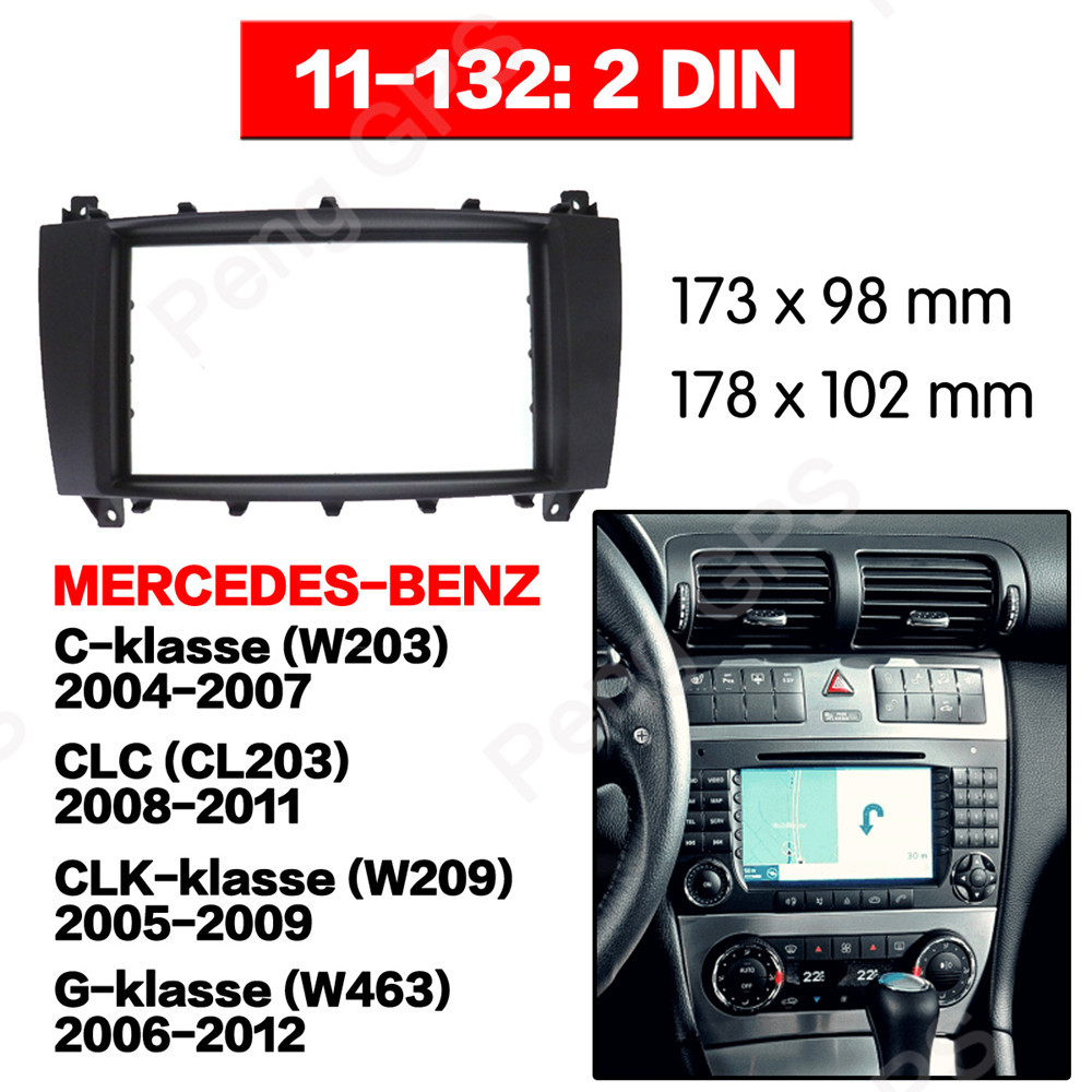 2 DIN Car Radio stereo Fitting installation adapter fascia For BENZ C Class W203 2004 2007