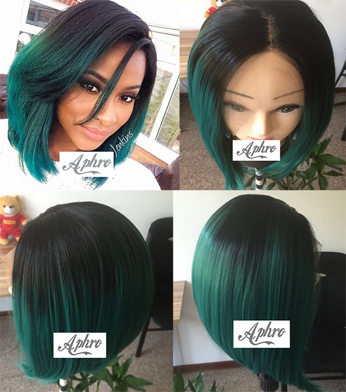 Cheap Ombre Short cut green Hair Lace Front wigs Black Women 12 inch 150 Density Glueless Green Bob Full Wigs - Aphro Beauty Shop No.1 store