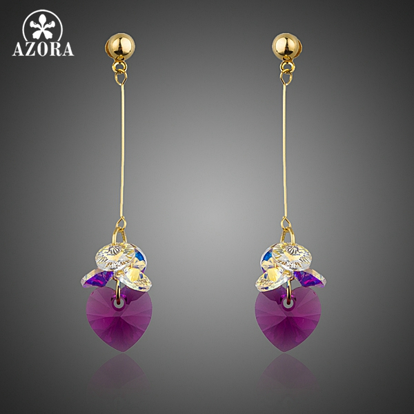 AZORA Romantic Gold Color Cluster Color Gradient Stellux Austrian Crystal Heart Drop Earrings for Women TE0259