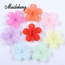 Meideheng 6 Petals Flower Shape Acrylic Beads Translucent Dull Polish Fit Jewelry Handmade DIY Craft Accessories 30mm