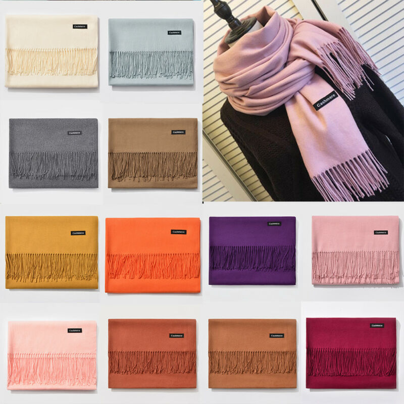 Pashmina Scarf Large Shawl Wrap Cashmere Polyester Lady Long Women Winter Warm Solid Color Tassel The New
