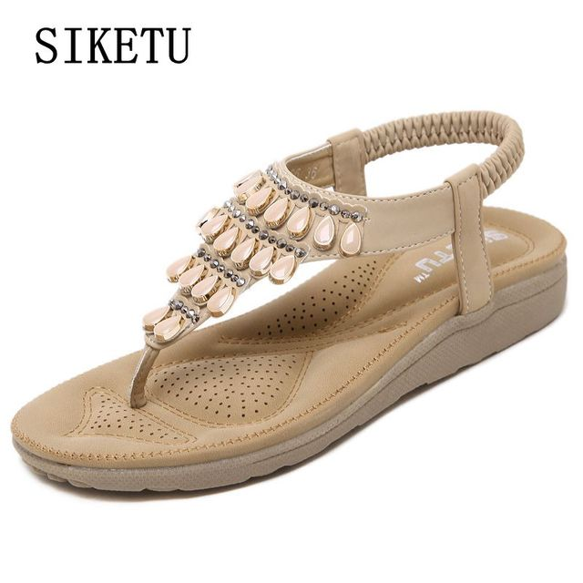 b7a3c97523f9 SIKETU 2017 summer new woman sandals Bohemia diamond flat sandals women  soft bottom comfortable sandals free shipping size 39 40