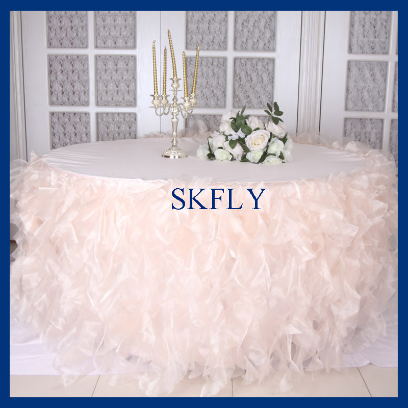 CL010DNice wedding 5ft round 120 round blush pink curly willow table cloth with top or table