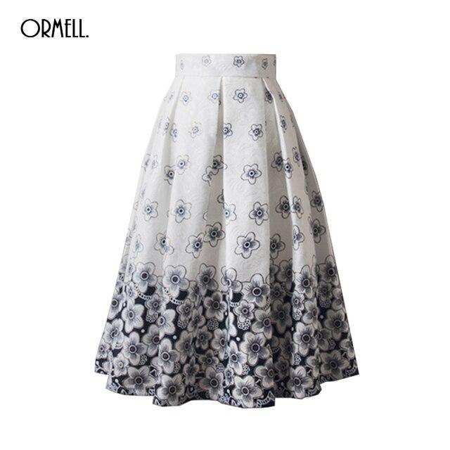 f3f862122e ORMELL White Floral Midi Skirts Women New High Waist Pleated Elegant Skirt  Faldas Saia Ladies Jupe Femme A line Skater Skirt