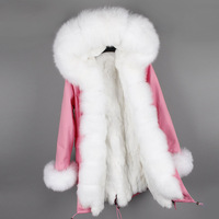 MaoMaoKong Real fur coats for women natural rex rabbit fur liner jacket winter big fur collar overcoat
