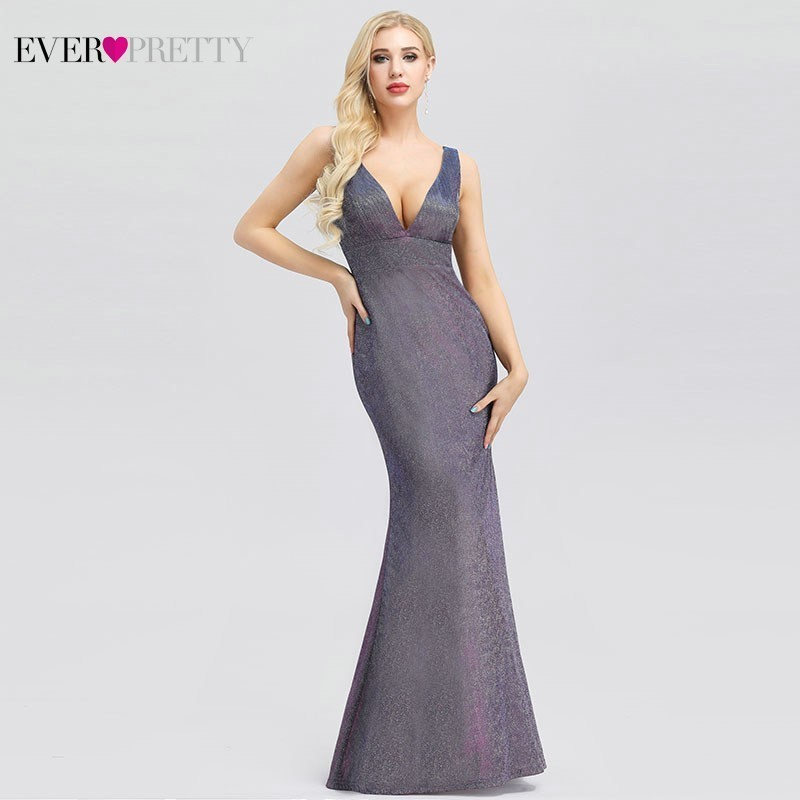Ever Pretty Sexy Mermaid   Prom     Dresses   Long Deep V-Neck Sleeveless Sparkle Gala   Dresses   EP00957PW Elegant Formal Party Gowns 2019