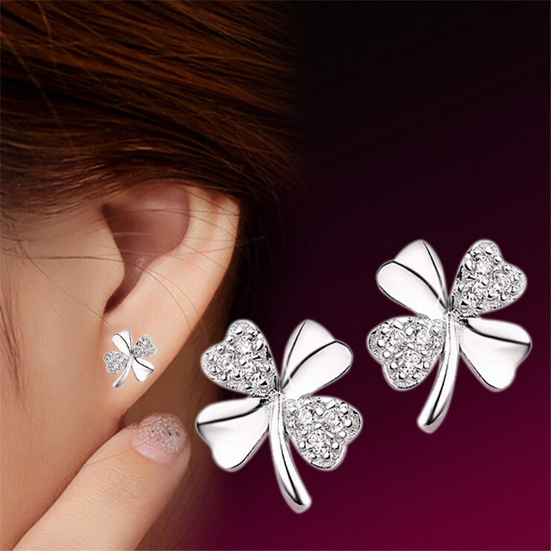 JETTING 1Pair Trendy Lucky Clover Silver Plated Crystal Screw Back ...