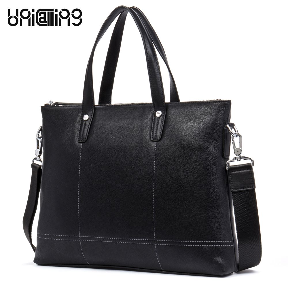 UniCalling premium leather man bags new style casual men leather bag brief luxury real cow leather men tote handbag cross body aetoo the new oil wax cow leather bags real leather bag fashion in europe and america big capacity of the bag