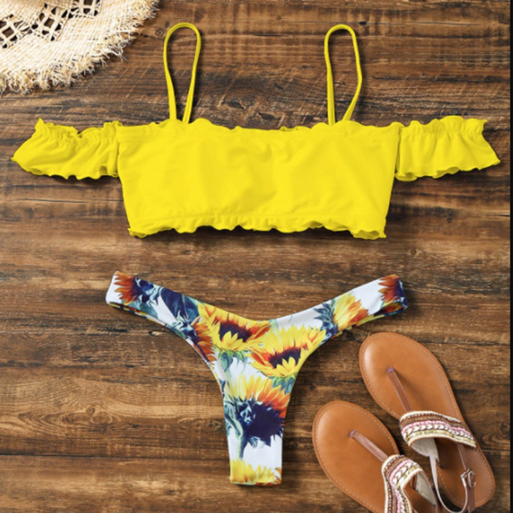 Summer Sexy Women Off Shoulder Slash Neck Beach Two Pieces Floral Print 2Pcs   Bra     Set     Bra  +  Brief