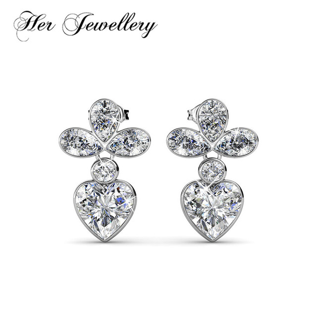 Her Jewellery Plant Stud Earring Heart And Pear Stone Combination Made With Crystals From Swarovski