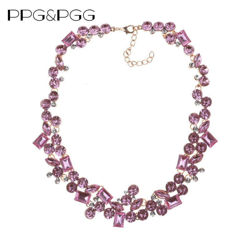 PPG&PGG 2018 New Design Pink Rhinestone Fashion Women Bijoux Crystal Choker Statement Necklaces Lady Party JewelryPPG&PGG 2018 New Design Pink Rhinestone Fashion Women Bijoux Crystal Choker Statement Necklaces Lady Party Jewelry
