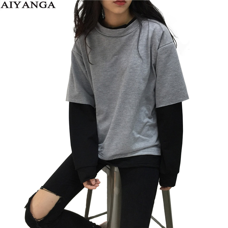 Sweatshirt For Women 2019 Autumn Winter Faux 2 Pieces Hoodies O-neck Patchwork Hoody Long Sleeve Pullover Sweatshirts Loose Tops