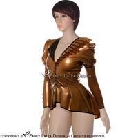 Golden With Black Sexy Latex Jackets With Frills Puff Sleeves Buttons At Front Rubber Dress Plus
